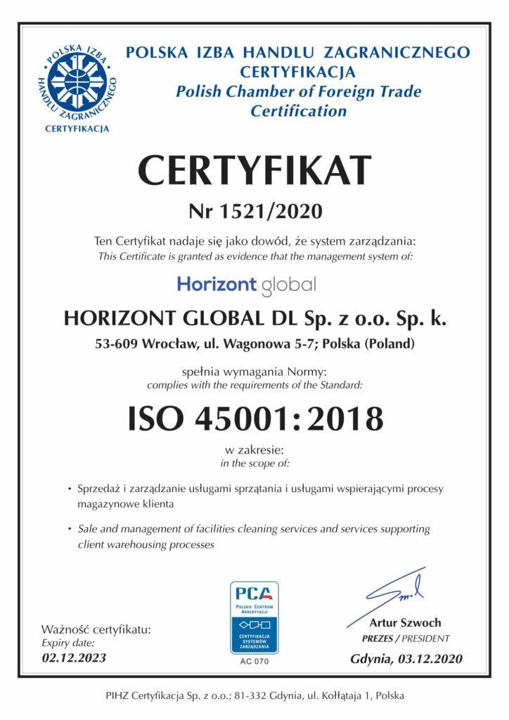 Certyfikat Horizont Global DL 45001_2018-1